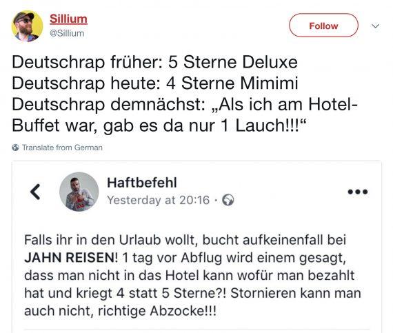 Haftbefehl Hotel Twitter