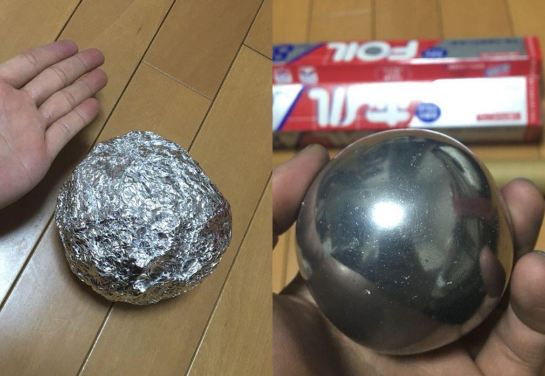 Kugel aus Alufolie polieren
