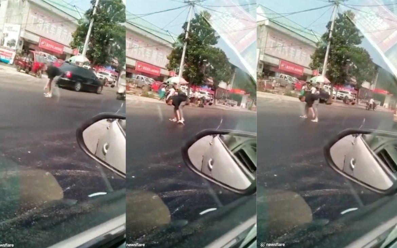 schuhe kleben am asphalt