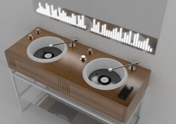 dj setup vinyl waschtisch