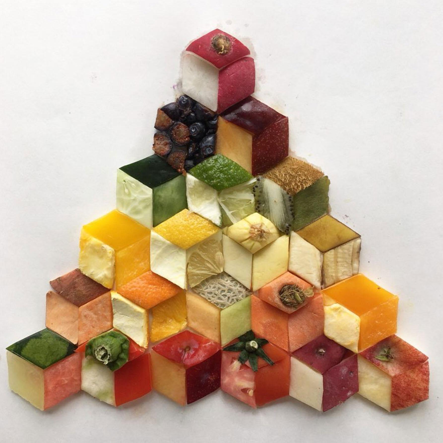 Geometrisch geschnibbelte Lebensmittel von Witenry